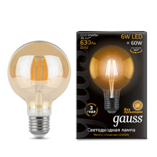 Лампа Gauss LED Black Filament G95 E27 6W 2400K, GOLD