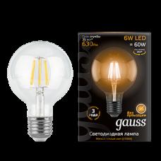 Лампа Gauss LED Black Filament G95 E27 6W 2700K