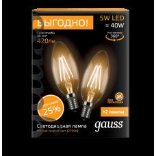 Лампа Gauss LED Black Filament C37 E14 5W 2700К, 2шт/уп
